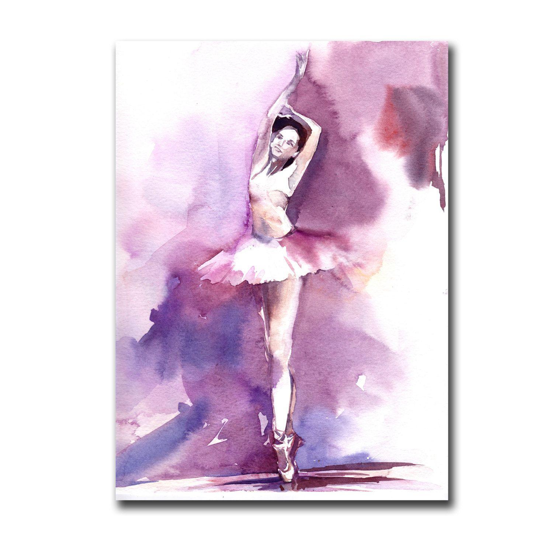 Aquarelle Originale De Ballerine Danse Ballet Violet Par Canotstop