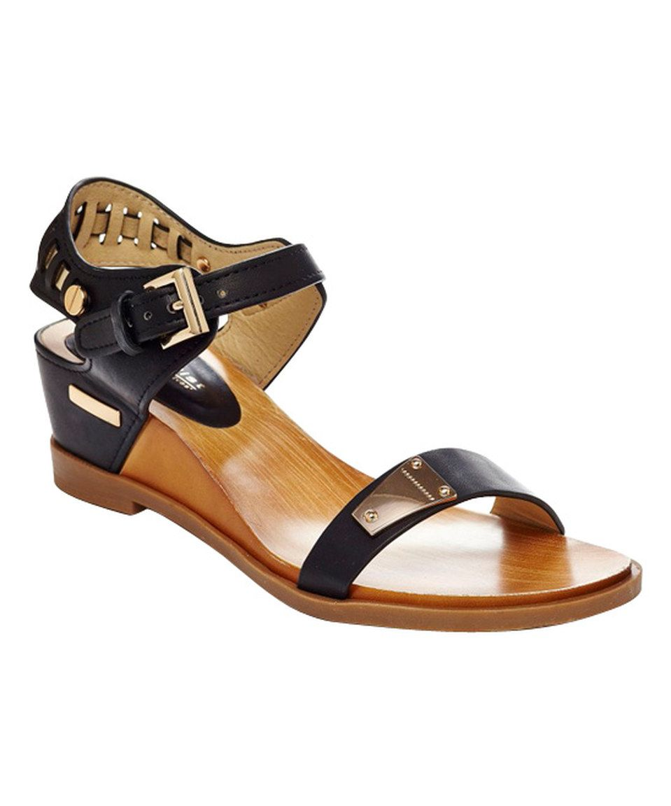 Another great find on #zulily! Black Angie Wedge Sandal by CheckList #zulilyfinds