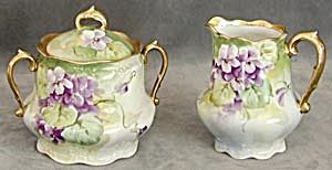 Violets Sugar and Creamer. Victorian style