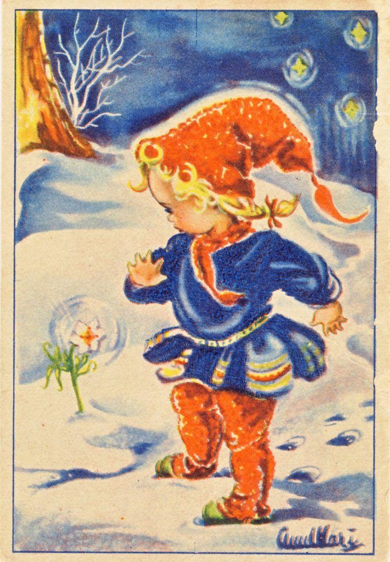 Darling Vintage Swedish Christmas Card! Little Girl in Orange Hat ...