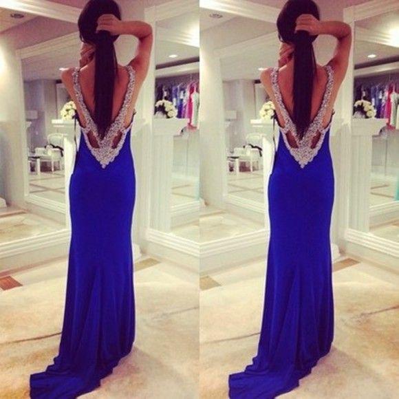 Navy Blue Prom Dresses with Black Diamonds