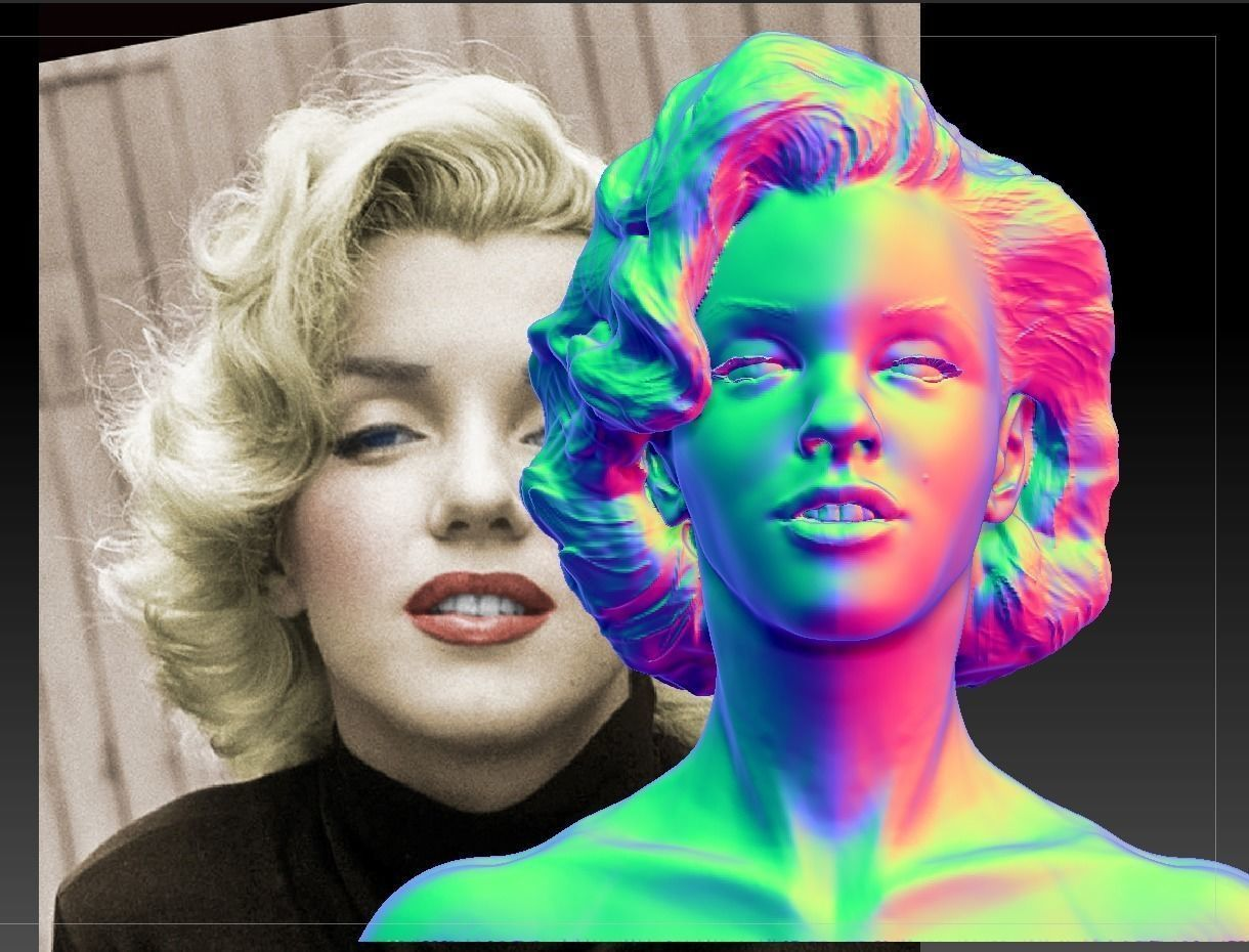 Marilyn Monroe Photorealistic 3d Model 3d Print Model With Images 3d Model Print Models Model