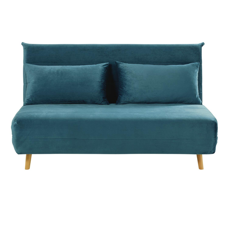 Einzel-schlafzimmer-wohndesign ausklappbare sitzerbettbank aus samt petrolblau in   ideen