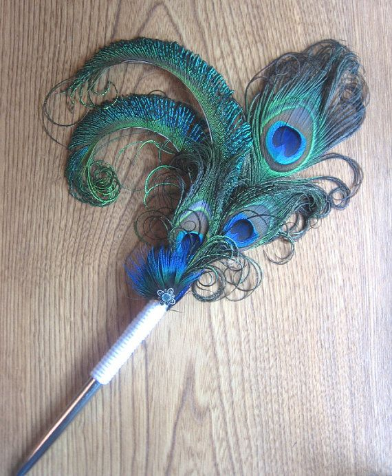 Peacock Wedding Ideas Etsy: Wedding Bridal Guest Book Pen With Peacock Feathers