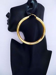 Huge Plain Chunky Gold Tone Hoop Earrings 9cm 3 5