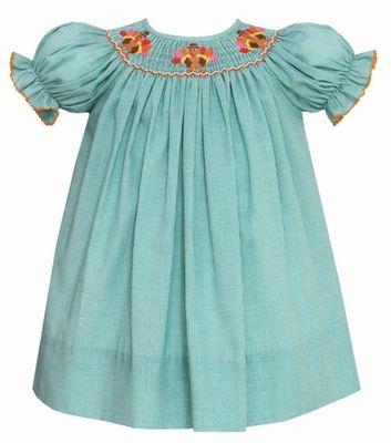 fdc25f9f820d Petit Bebe by Anavini Baby / Toddler Girls Green Check Smocked Thanksgiving  Turkeys Bishop Dress