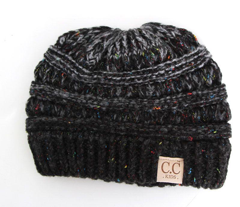 9aa113e3b0f C.C. Beanie Confetti Cable Knit Beanie for Kids in Black YJ817-KIDS-BLACK
