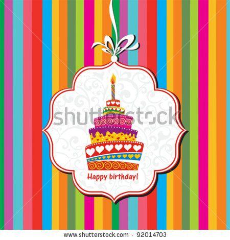 Happy Birthday Card Birthday Cake Vector Illustration By Kalenik