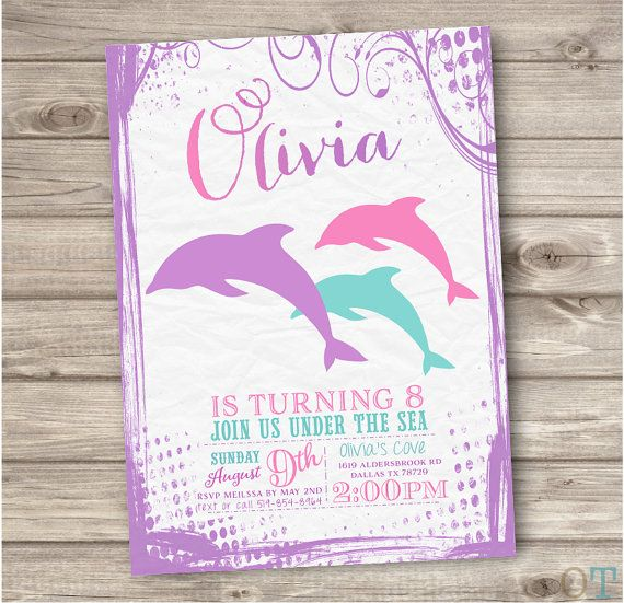 Dolphin invitations shabby chic little mermaid silhouette splash dolphin invitations shabby chic little mermaid silhouette splash bash girl pink teal pool party invites 7th birthday filmwisefo Gallery