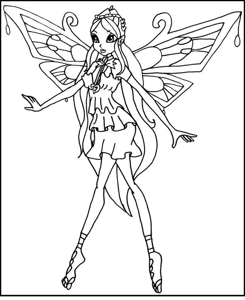 Winx club enchantix bloom coloring picture for kids for Winx club bloom coloring pages