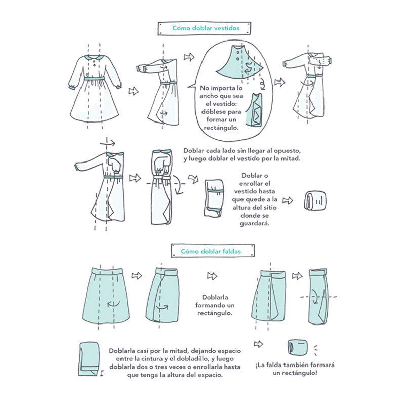 C mo doblar vestidos y faldas marie kondo moda y ropa - Como doblar ropa interior ...