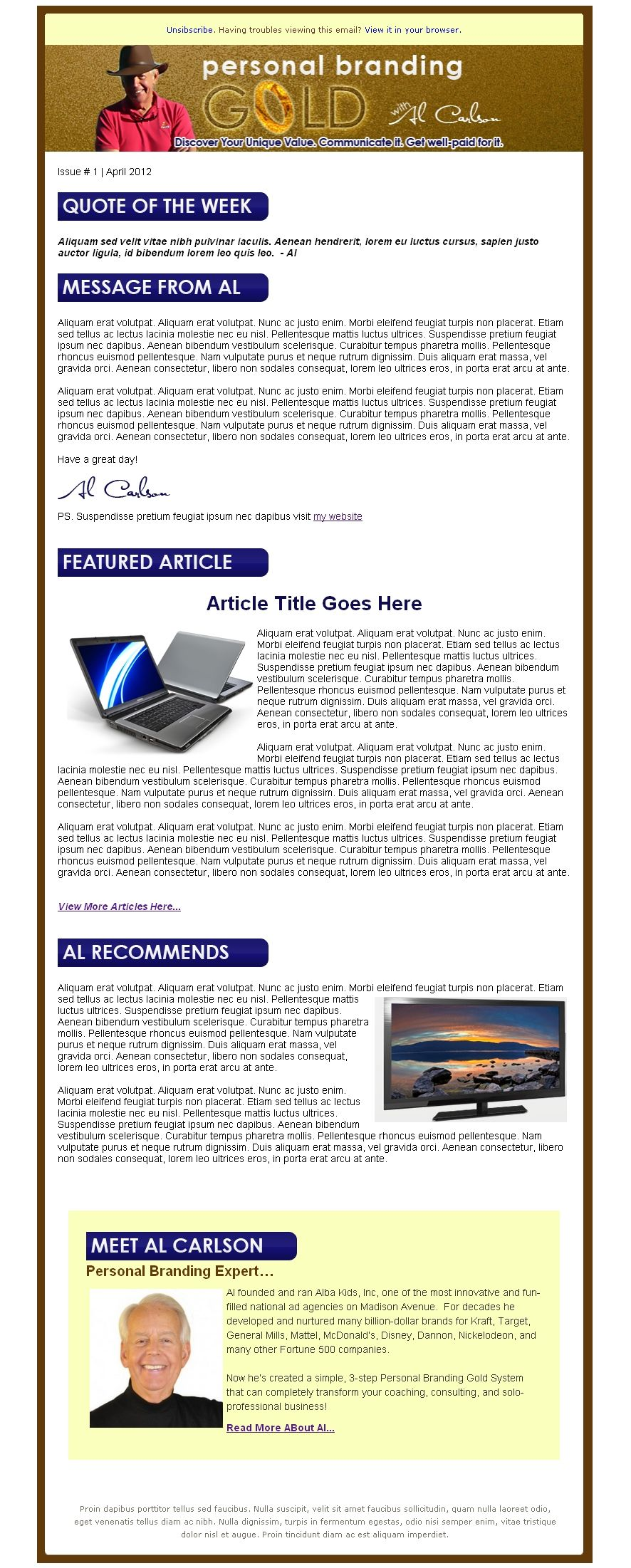 Custom Newsletter Template For AWeber My Portfolio Pinterest - Custom newsletter template