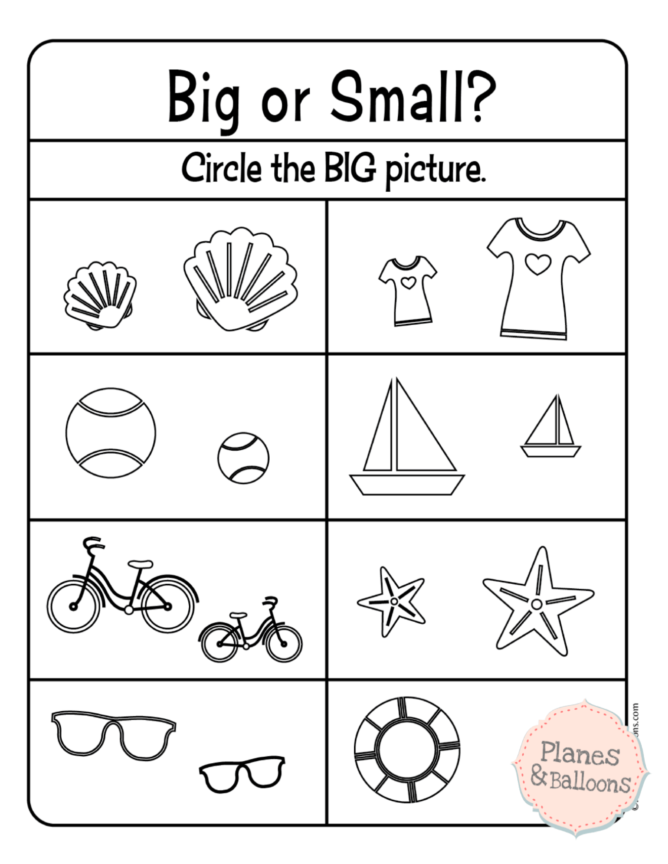 Comparing Size Big And Small Worksheets For Your Busy