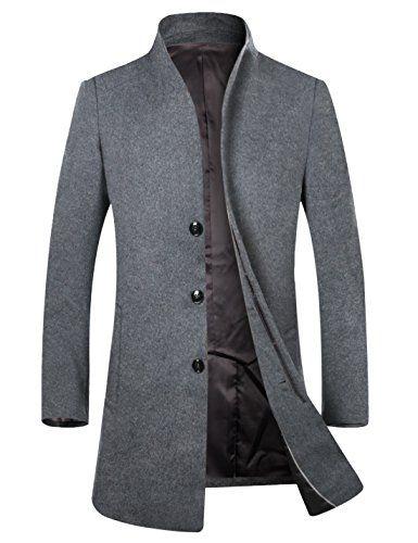 Herren Mantel Wolljacke Lang Wollmantel Warm Trenchcoat