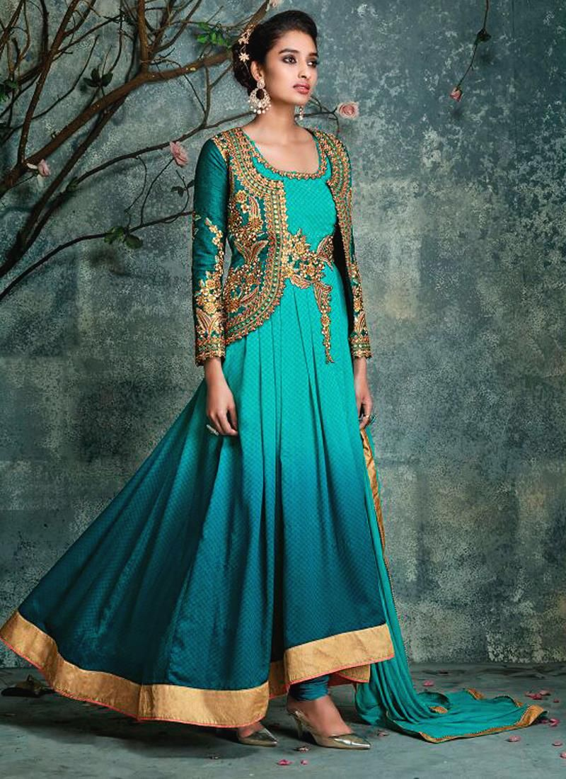 Perfervid Sea Green Georgette Anarkali Salwar Kameez | Ball Gown ...