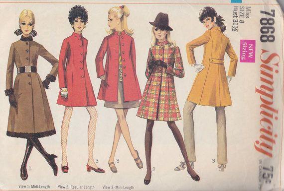 1968 Stand Up, Nehru Collar Winter Coat Pattern, Mini, Knee Length ...