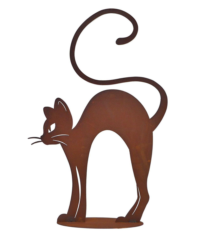 Katze Metall Edelrost Katzen Deko Garten Tier Figur ...