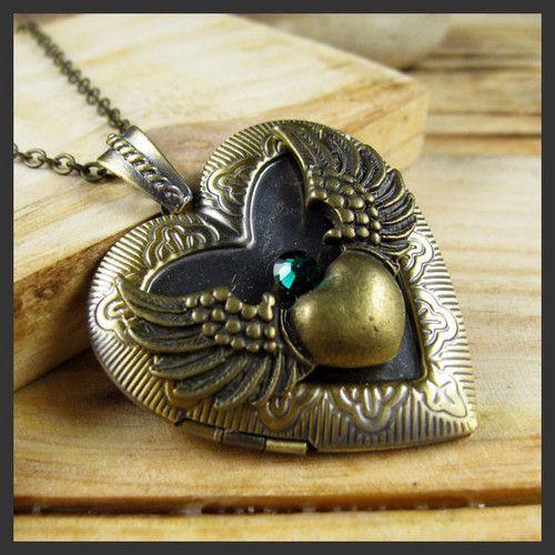 #necklace #accesories #jewelry #fashion Angel Wing Heart Swarovski Emerald Brass Picture Locket Pendant Necklace | eBay