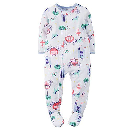 Carter's Little Girls' 1-Piece Footed Cotton Sleeper Pajamas (3T ...
