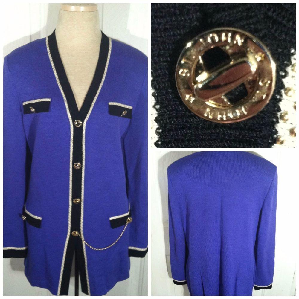 ST JOHN COLLECTION Jacket Cardigan Santana Knit Purple Gold White ...