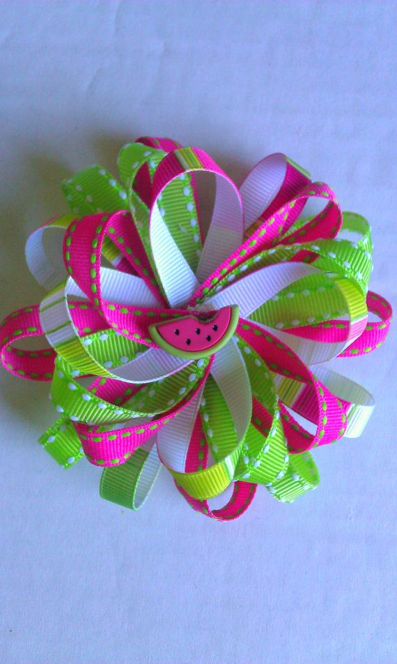 Colorful Watermelon Hairbow by SOOriginals on Etsy, $7.00
