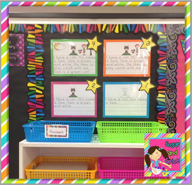 A continuum of writing samples to show the students what would earn each grade the visual would - Writing corner ideas ...