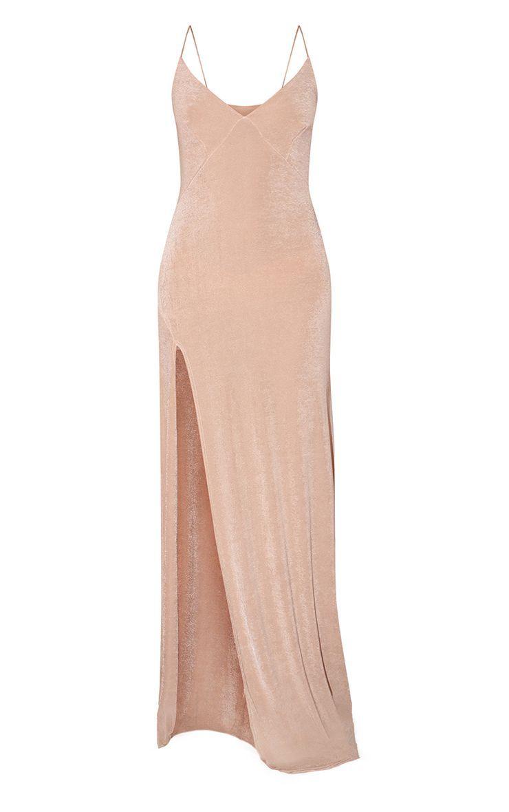 Champagne Strappy Thigh Split Maxi Dress Split Maxi Dress Maxi Dress Dresses [ 1180 x 740 Pixel ]