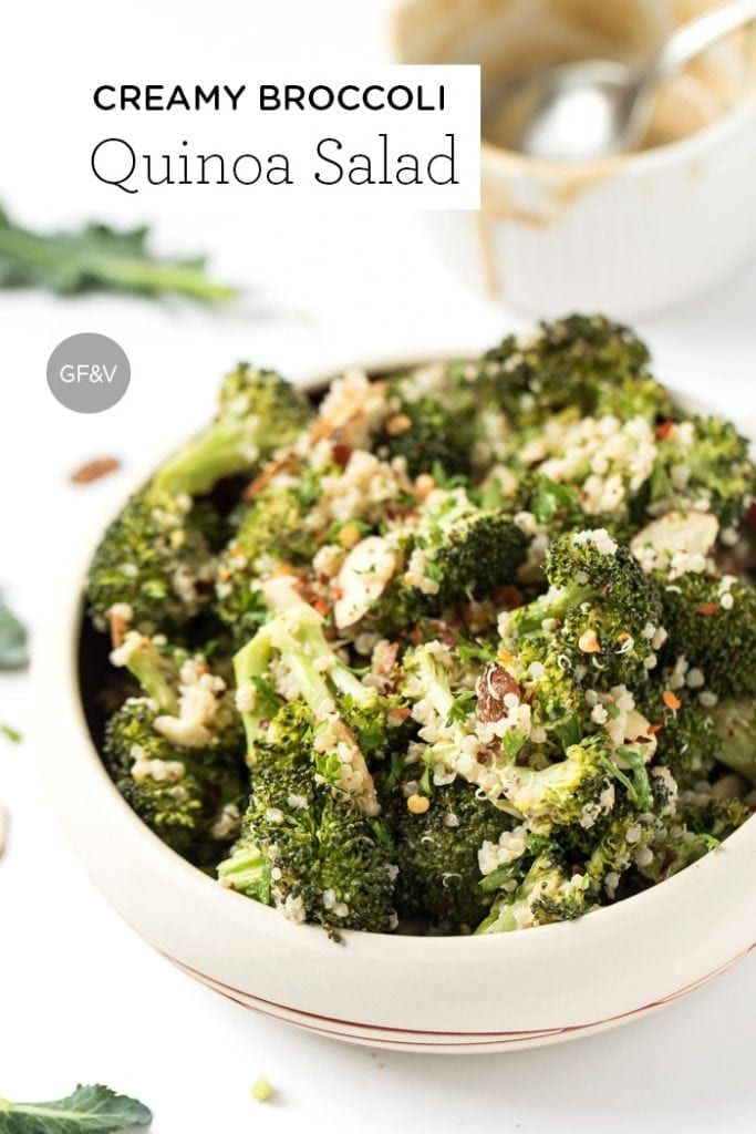 Creamy Vegan Broccoli & Quinoa Salad This HEALTHY broccoli quinoa salad is tossed with a CREAMY cashew dressing and makes for a filling, yet surprisingly light side dish! [vegan & gf]