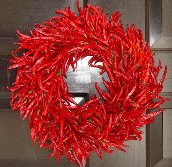 Organic Red Chili Pepper Wreath Kitchen Centerpiece Wall