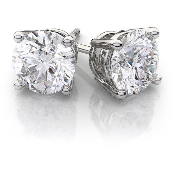 Round Diamond Stud Earrings in 18k White Gold
