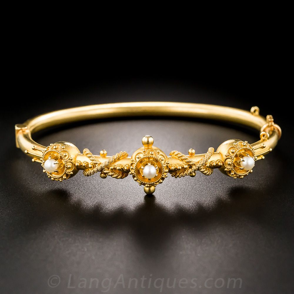 Victorian seed pearl bangle bracelet