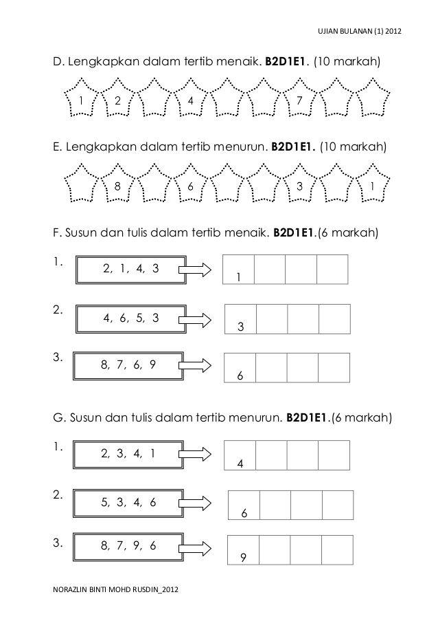 Ujian Bulanan 1 2012d Lengkapkan Dalam Tertib Menaik B2d1e1 10 Markah E Lengkapkan Dalam Math Exercises Kids Math Worksheets Kindergarten Math Counting