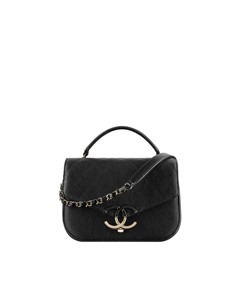 Flap bag with top handle, grained calfskin & gold metal-black - CHANEL