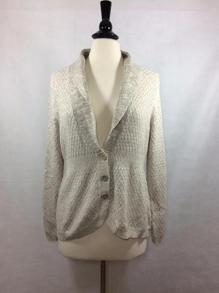 NEW CROFT & BARROW Size L Large Womens Tan Cardigan Sweater Button ...