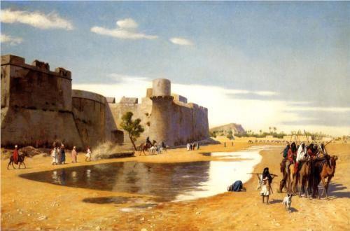 An Arab Caravan outside a Fortified Town, Egypt - Jean-Leon Gerome