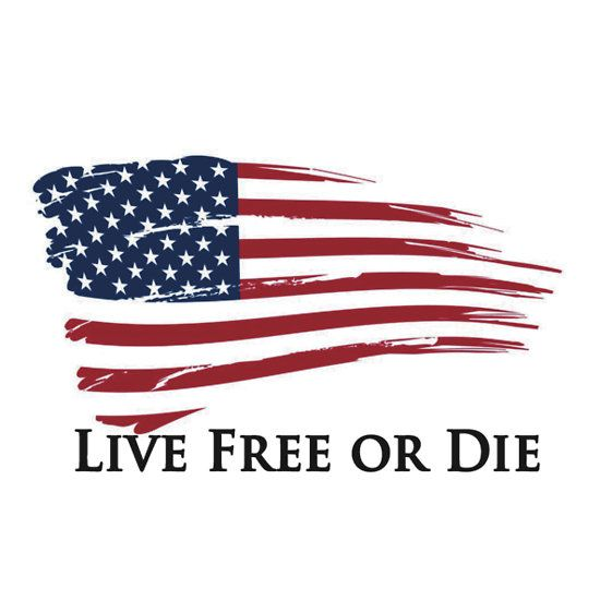 American flag live free or die freedom new hampshire sticker by 8675309