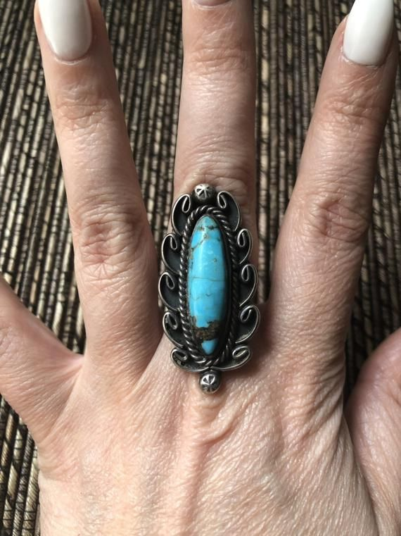 Photo of Huge Stunning Sterling Silver & Turquoise Navajo Native American Ring Size 6