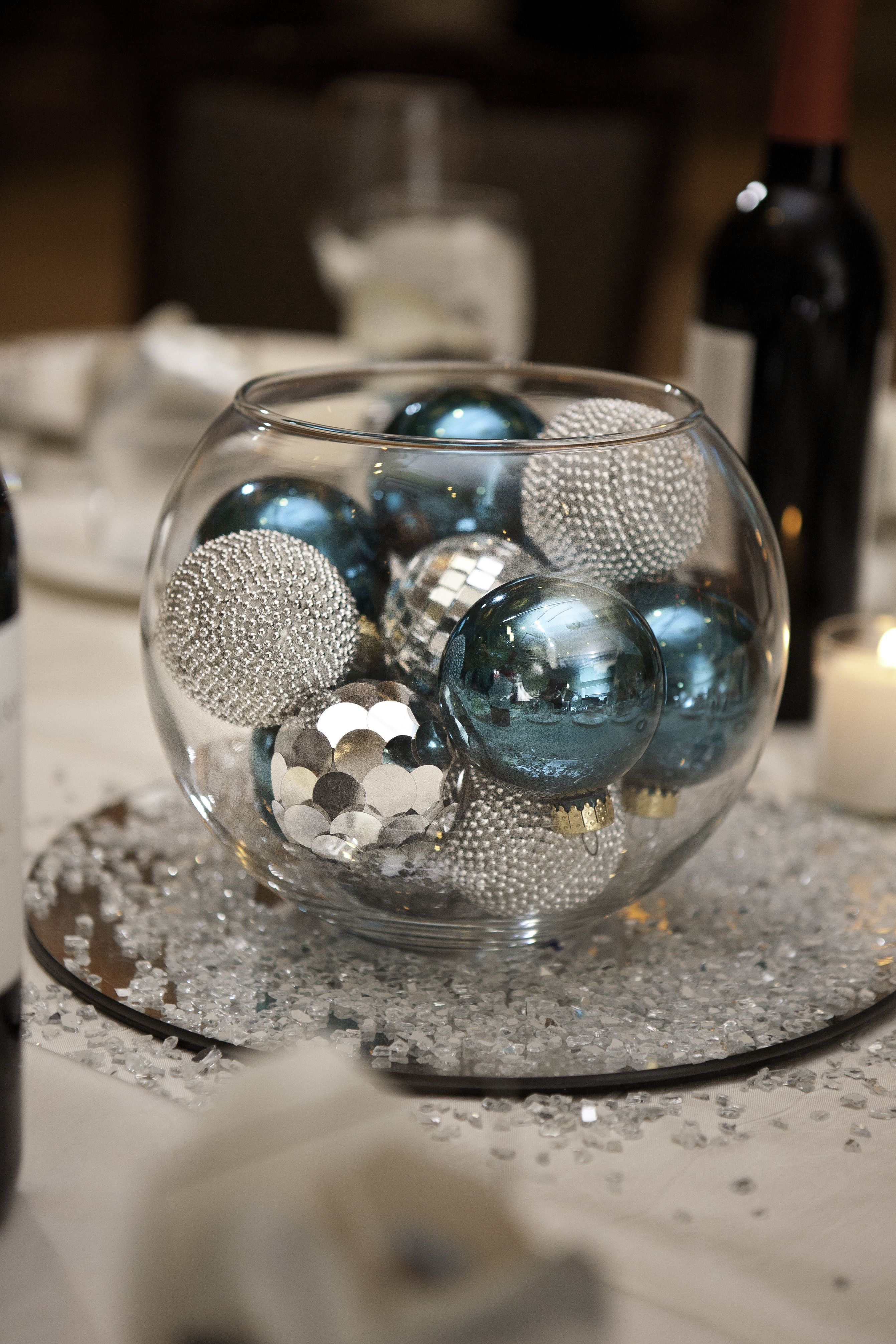 Glass bowl with ornaments centerpiece christmas pinterest