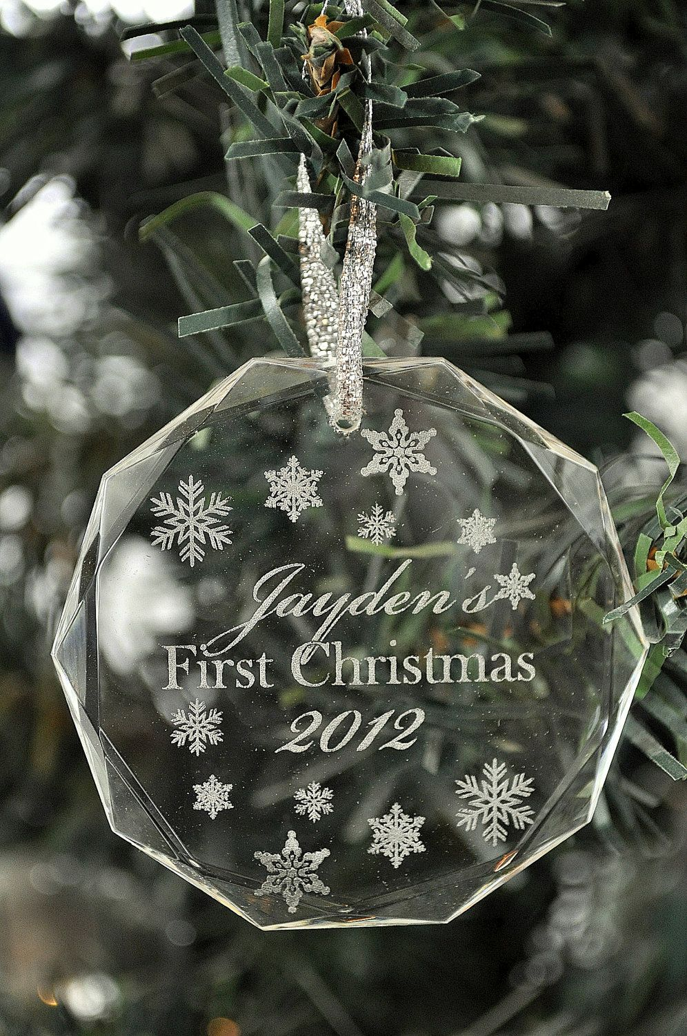 Personalized Laser Engraved Crystal First Christmas Ornament 3 Laser Engraving Christmas Ornaments Personalized Christmas Ornaments