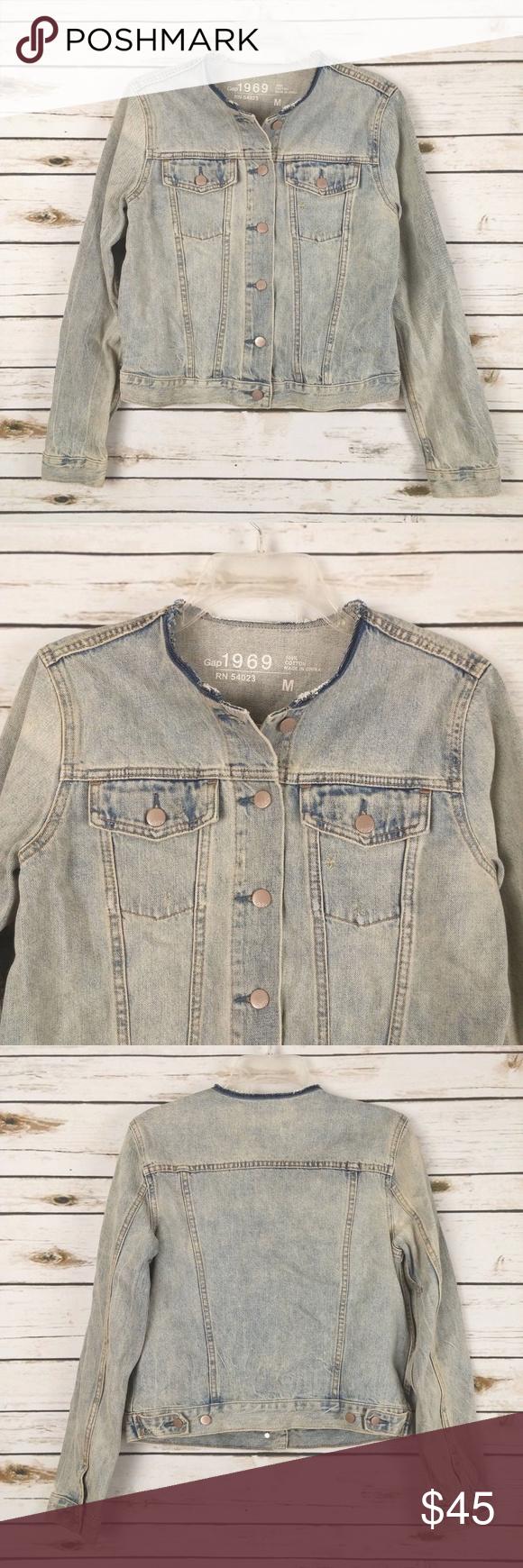 Gap Collarless Jean Jacket Denim Vintage Look M Denim Jacket Collarless Denim Jacket Jackets [ 1740 x 580 Pixel ]
