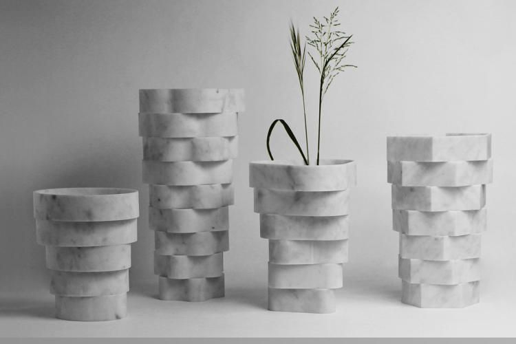These Modern Elegant Vases Were Made With Discarded Marble Slabs