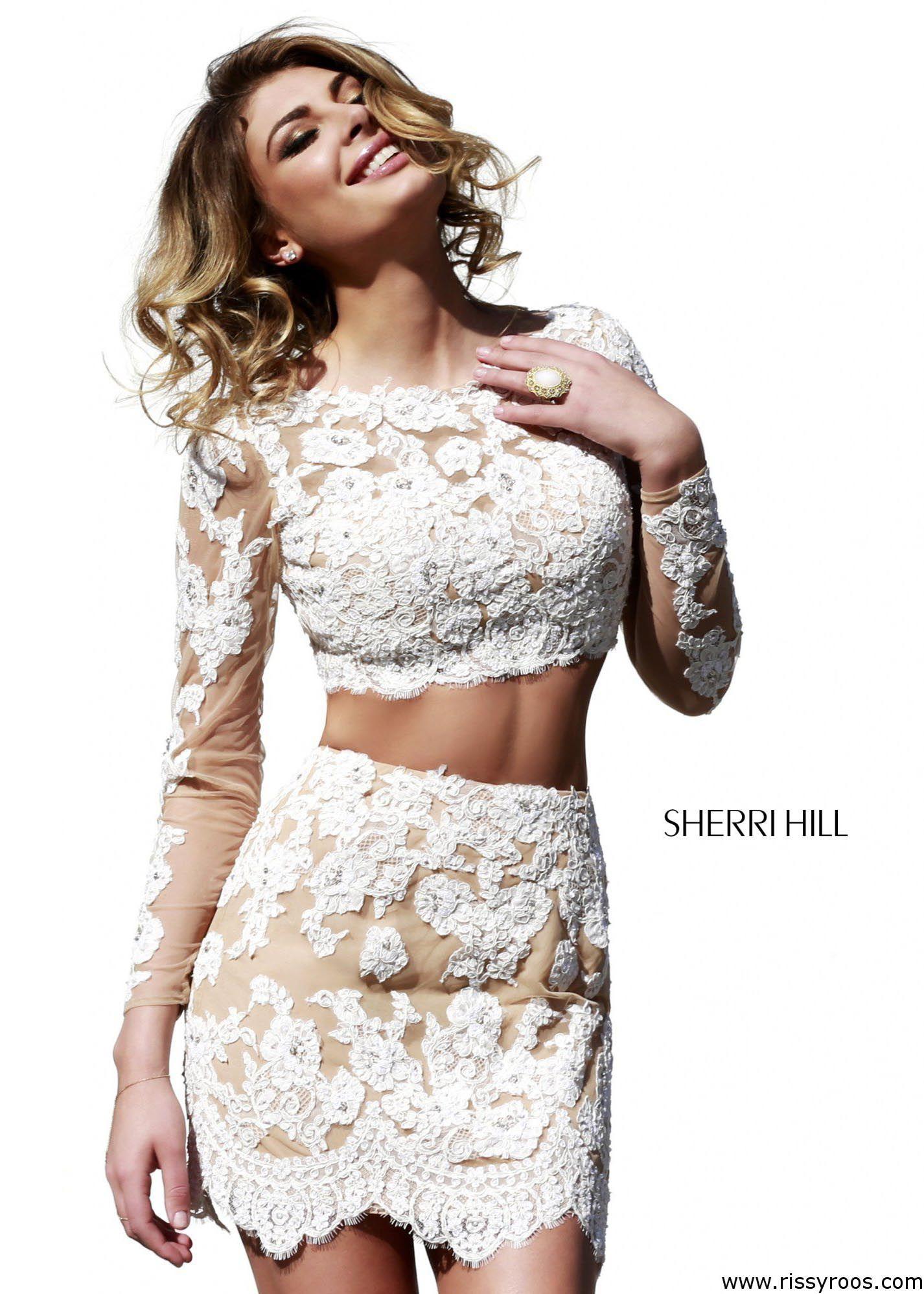 Lace dress tight  Sherri Hill  Lace Two Piece Dress  Stunning Sexy  piece Dress