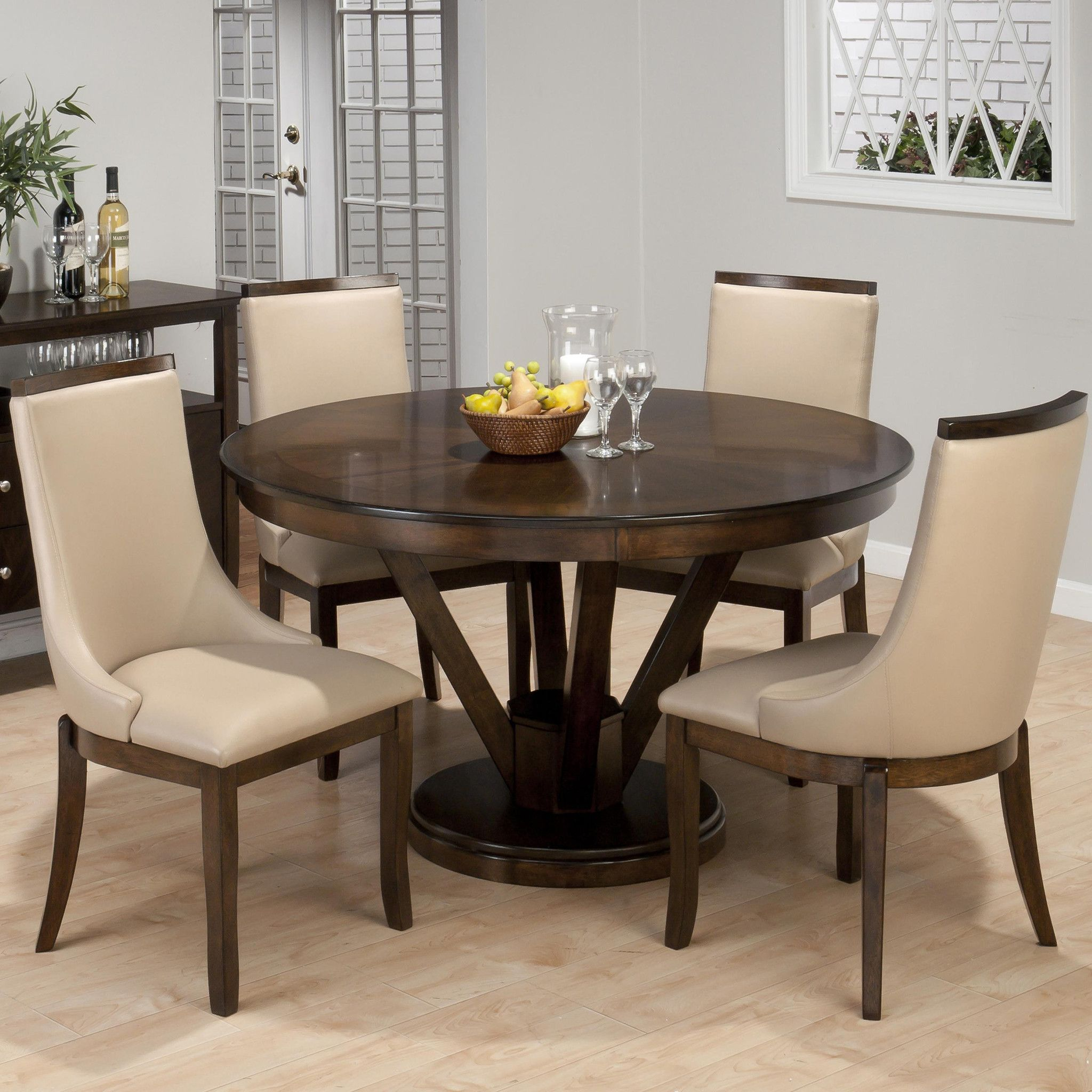 webber walnut casual kitchen dining set with four winged chairs
