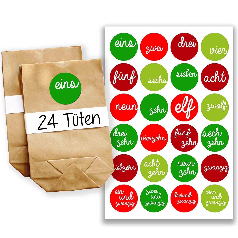 Adventskalender Miniset 7 Aufkleber und Tüten Amazon.de