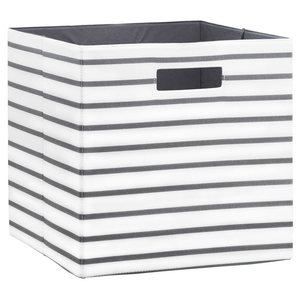 Fabric Cube Storage Bin 13 White Grey Stripe Threshold Brown Fabric Storage Cubes Cube Storage Fabric Storage Bins