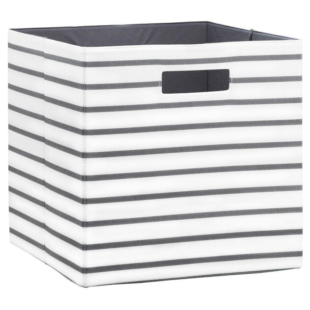 Fabric Cube Storage Bin 13 White Grey Stripe Threshold Brown Fabric Storage Cubes Cube Storage Fabric Storage Bins