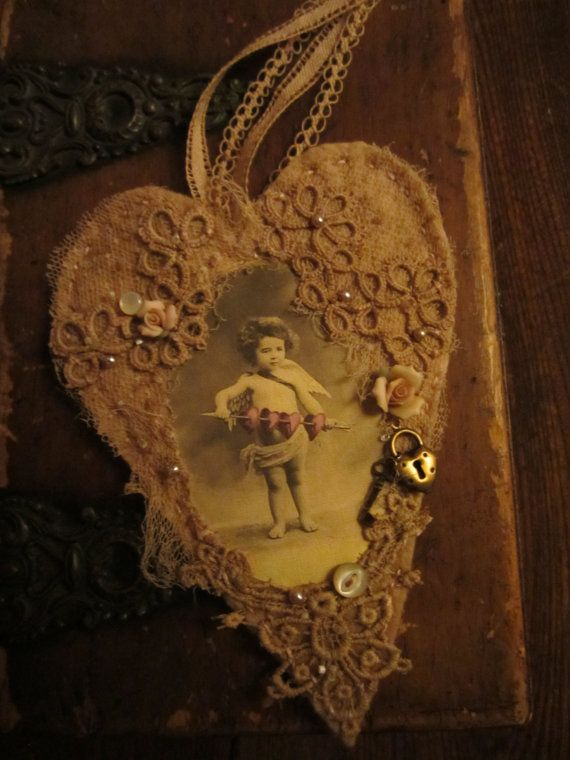 Vintage Lace Collage Sweet Cupid's Dart with por sweetinspirations, $19.99