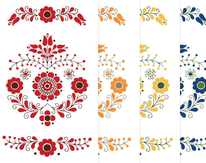 Scandinavian folk art motif clipart swedish hungarian