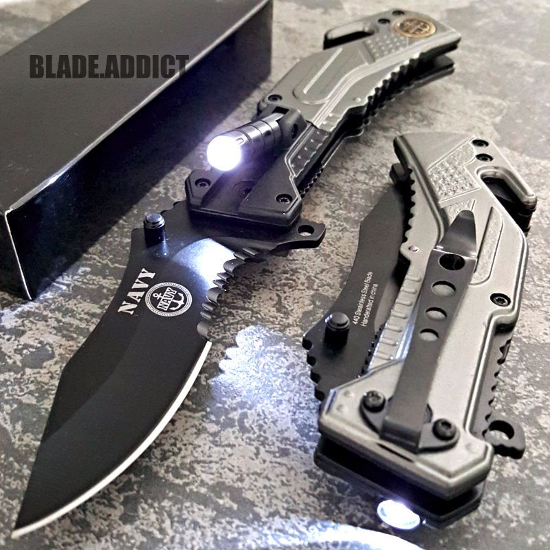 TAC-FORCE US NAVY Spring Assisted Opening LED Tactical Rescue Pocket ...
