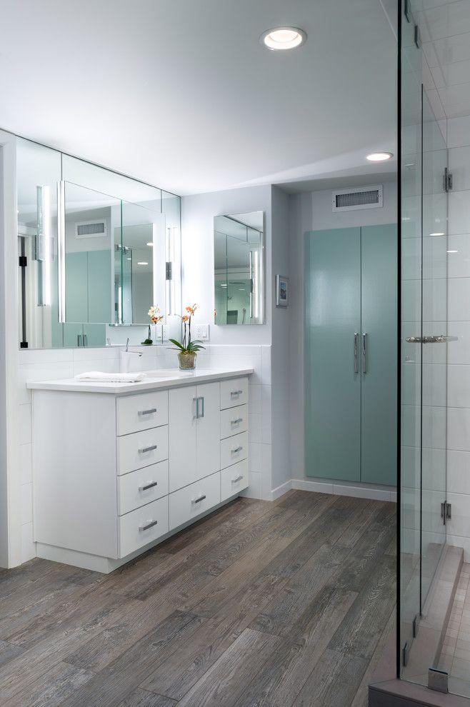 Wood Grain Porcelain Tile Bathroom Contemporary With Bath Tub